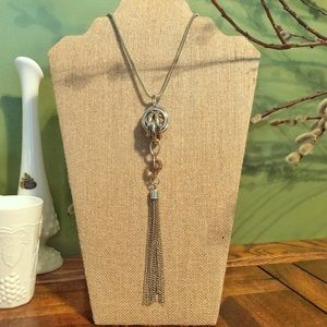 """Jewelry - """"Infinity"""" Knot Silver Tassel Necklace"""